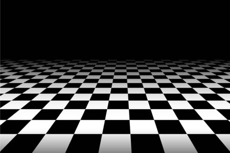 Vector chess background. Black and white perspective checkered background. Abstract background with a perspective