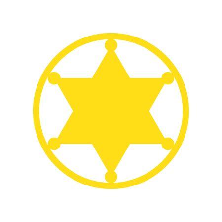 Hexagonal Sheriff Star icon isolated. Yellow vector star icon. Star in flat design. Vector hexagonal star