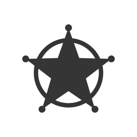Sheriff Star icon isolated. Black vector star icon. Star in flat design. Vector star