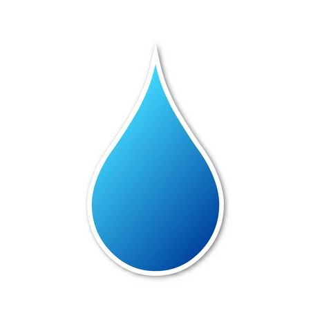 Vector water drop icon. Paper sticker with shadow. Blue water drop icon isolated.