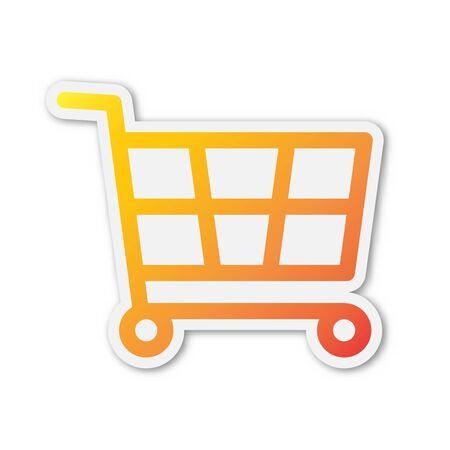 Vector Shopping cart icon. Paper sticker with shadow. Colored Shopping symbol isolated. Ilustracja