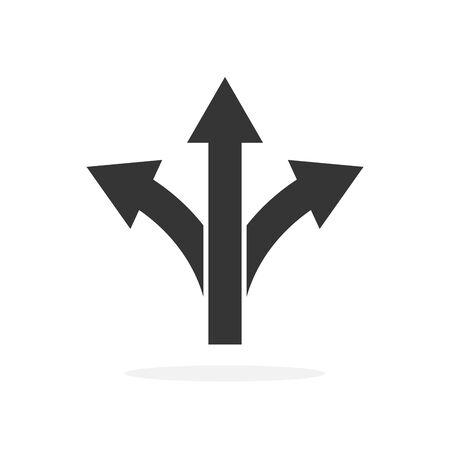 Three-way direction arrow - vector. Road direction icon isolated. Black vector arrow Banco de Imagens - 133664568
