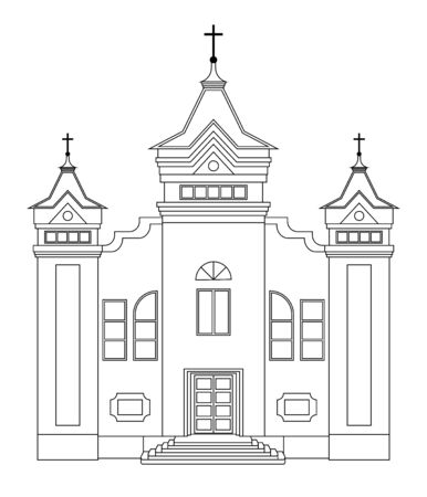 Vector church building drawing. Religion architecture. Building church in flat design.