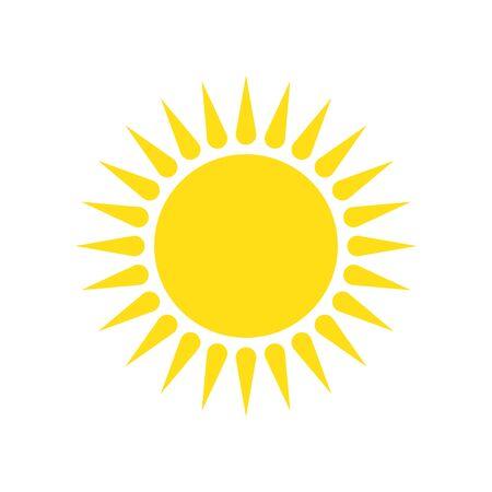 Sun icon - vector. Yellow vector sun. Flat sun icon isolated. Ilustrace