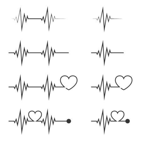 Heartbeat icon isolated. Vector Pulse icon. Set of flat pulse symbols.