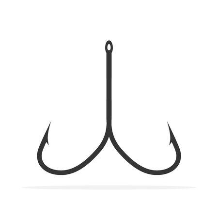 Fishing hook icon - vector. Barbed Fishing hook icon isolated. Black fishing hook symbol. 일러스트