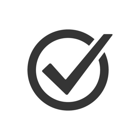 Checkmark icon. Vector voting symbol. Approved vector icon. Vector button isolated.