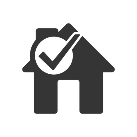 House icon with check mark symbol. Vector House icon. Black home icon. Building icon in flat style, isolated.