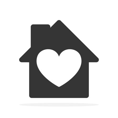 House icon with heart. Vector House icon. Black home icon. Construction concept. Ilustração