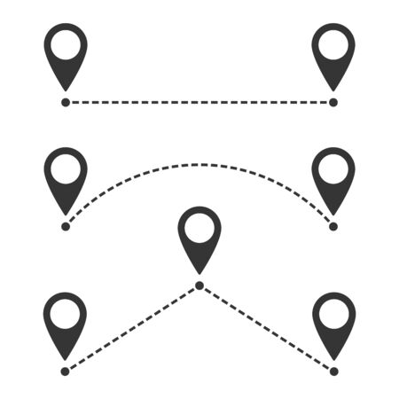 Destination track point icon. Vector illustration. Route location icon isolated. Two dashed location pins with dotted line Фото со стока - 133660027