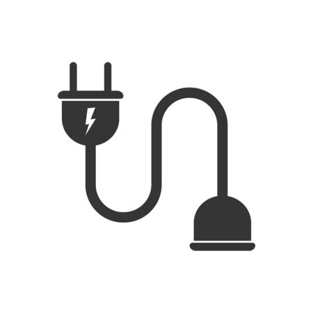 Wire plug and socket isolated. Vector black icon. Electric extension cord in flat design Illustration