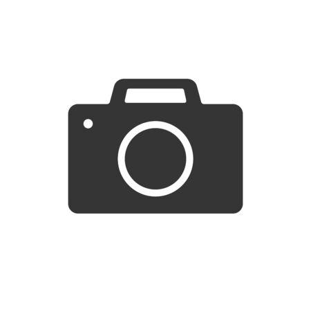 Photo camera icon - vector. Black camera icon. Photo camera icon in flat design, isolated.