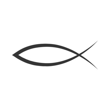 Christian fish icon. Vector Jesus fish icon in flat style. Black religion symbol isolated.