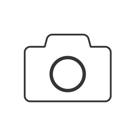 Photo camera icon - vector. Black camera icon. Photo camera icon in flat linear design, isolated.