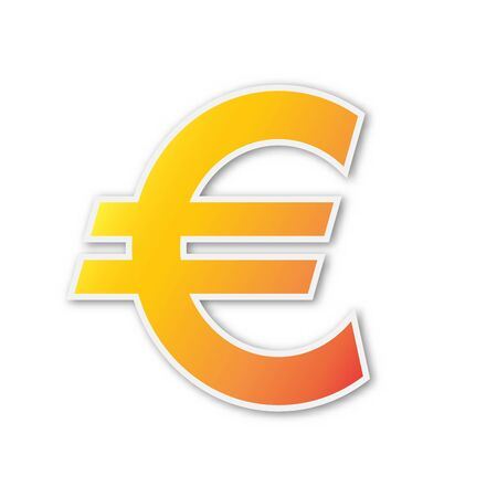 Vector Euro symbol. Paper sticker isolated. Euro currency symbol isolated. Ilustração