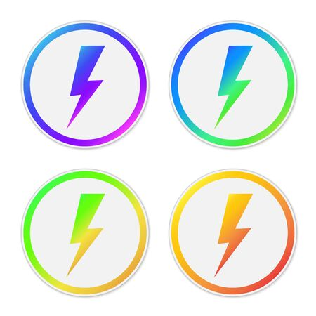 Set of vector Lightning icons. Paper stickers isolated. Symbols of Lightning isolated. Иллюстрация