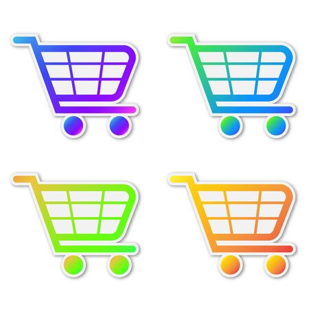 Set of vector Shopping cart icons. Paper stickers with shadow. Colorful symbols of Shopping isolated.