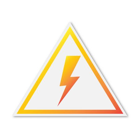 Vector Lightning icon. Paper sticker isolated. Danger or warning symbol isolated.