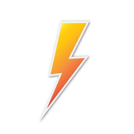 Vector Lightning icon. Paper sticker isolated. Symbol of Lightning isolated. Иллюстрация