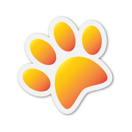 Vector animal Footprint icon. Paper sticker with shadow. Color animal footprint isolated.
