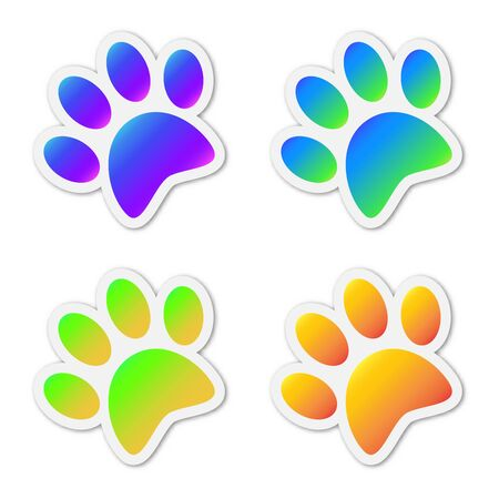Set of vector animal footprints. Paper stickers with shadow. Colored animal footprints isolated.