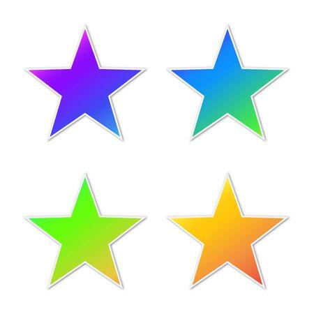 Conjunto de iconos de estrellas vectoriales. Pegatinas de papel con sombra. Estrellas de colores aislados. Ilustración de vector