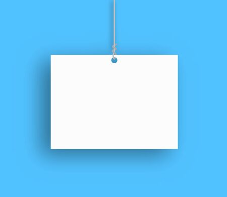 Blank hanging poster. Vector illustration. Empty poster with shadow. Paper background isolated Illustration