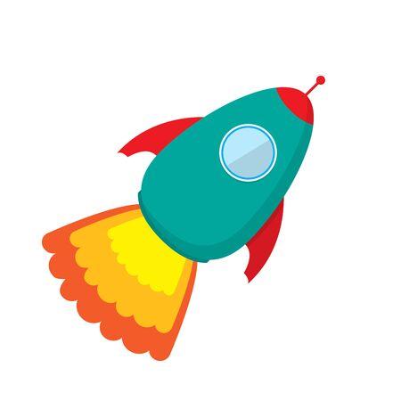 Vector cute Rocket ship icon. Color Rocket launch isolated. Rocket icon in flat design. Rocket launch - vector.