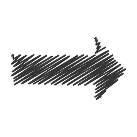 Vector arrow. Black scribble arrow icon. Abstract arrow isolated.