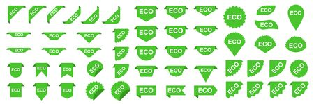 Set of ECO banners or stickers. Green Ecology labels or tags. Vector ECO ribbons Banco de Imagens - 133641985