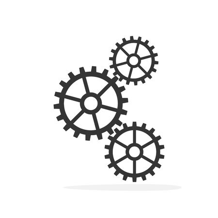 Gears on a white background. Gear vector icon. Black gears in flat style