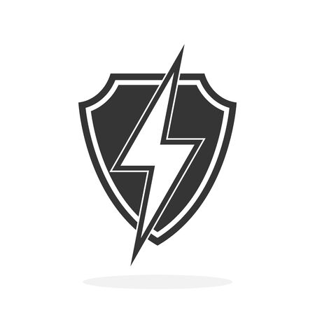 Shield with lightning - vector icon. Security Shield icon in flat style. Symbols of good protection.