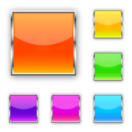 Set of square vector buttons. Blank web glossy buttons. Colored bright buttons isolated.