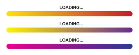 Set of vector loading icons. Colorful progress loading bar isolated. Bright download sign. Vector loading symbols