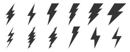 Big set of Lightning icons. Vector lightnings. Black electric power logo design element, isolated.