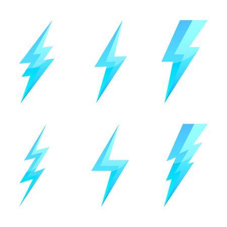 Big set of Lightning icons. Vector lightnings. Blue electric power logo design element, isolated.