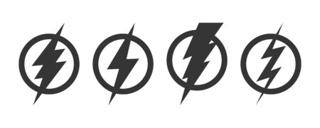 Set of Lightning icons. Vector lightning in circle. Black electric power logo design element, isolated Illustration