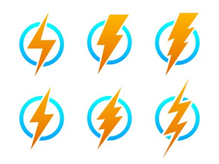 Big set of Lightning icons. Vector lightning in circle. Color electric power logo design element, isolated.