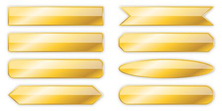 Set of gold banners isolated. Vector metal plates of different shapes.