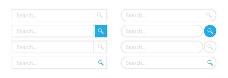 Search bar - element web design. Set of search interface templates. Vector illustration.