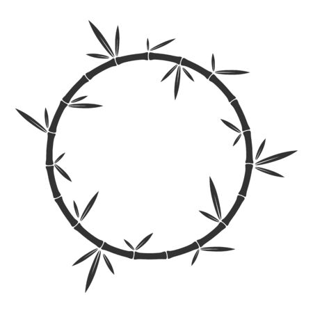Vector bamboo round frame. Bamboo stalks and leaves. Black design element isolated.