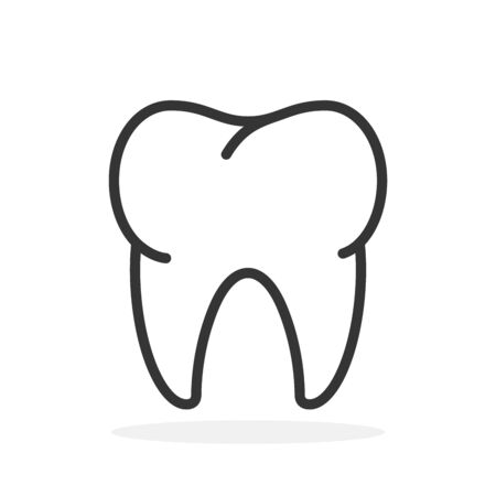 Vector Tooth icon. Black tooth icon isolated. Tooth icon in linear design