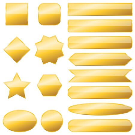 Set of gold banners isolated. Vector metal plates of different shapes. Glossy buttons Ilustrace