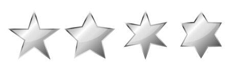 Set of vector chrome Stars. Vector silver Stars, isolated. Glossy star icon. Illusztráció