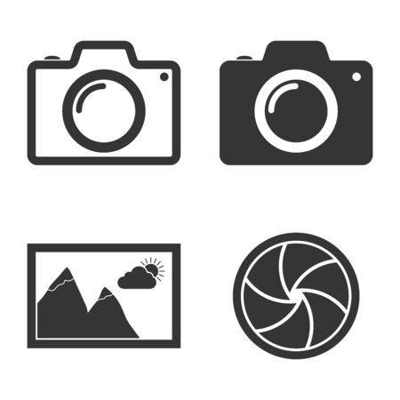 Set of vector Photo icons. Photo camera, No image available, camera diaphragm.