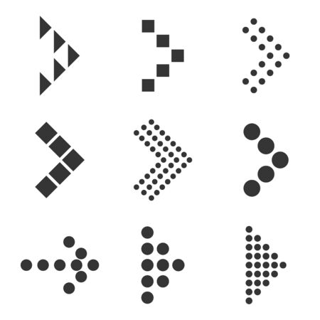 Set of dotted arrows - vector. Arrow icon isolated. Black dotted vector arrows.