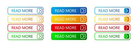 Set of Read More buttons. Vector colorful buttons isolated. Web buttons. Ilustrace