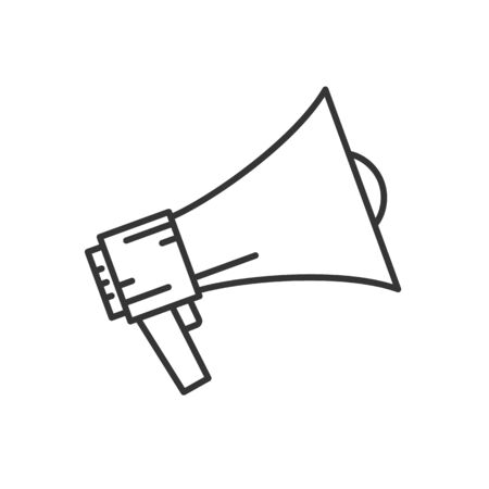 Vector Megaphone icon in flat linear design. Symbol of rally or protest. Loudspeaker icon isolated.