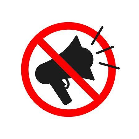 No megaphone icon. No noise concept. Vector symbol of rally or protest. Loudspeaker icon. Ilustração
