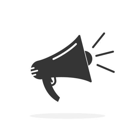 Megaphone icon isolated. Vector illustration. Black megaphone icon in flat design.